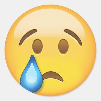 Crying Face Emoji Round Sticker