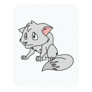 """Crying Gray Young Wolf Pup Invitation Stamps 4.25"""" X 5.5"""" Invitation Card"""
