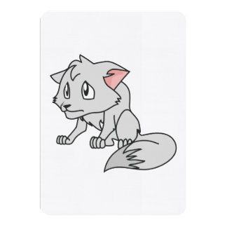 """Crying Gray Young Wolf Pup Invitation Stamps 5"""" X 7"""" Invitation Card"""