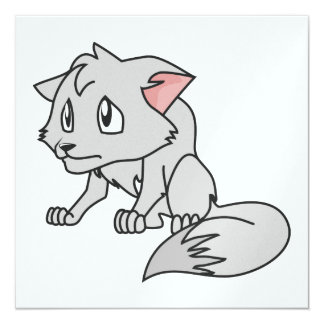 """Crying Gray Young Wolf Pup Invitation Stamps 5.25"""" Square Invitation Card"""