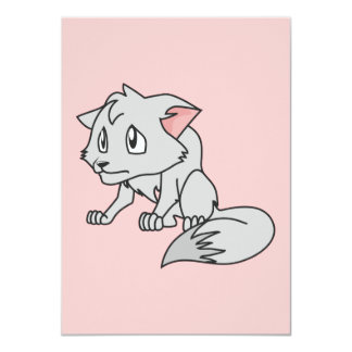 """Crying Gray Young Wolf Pup Invitation Stamps 4.5"""" X 6.25"""" Invitation Card"""