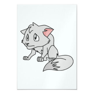 """Crying Gray Young Wolf Pup Invitation Stamps 3.5"""" X 5"""" Invitation Card"""