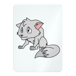 Crying Gray Young Wolf Pup Invitation Stamps