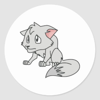 Crying Gray Young Wolf Pup Invitation Stamps Round Sticker