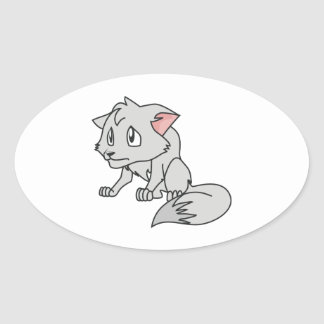 Crying Gray Young Wolf Pup Invitation Stamps Oval Sticker