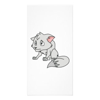 Crying Gray Young Wolf Pup Magnet Button Pillow Personalized Photo Card