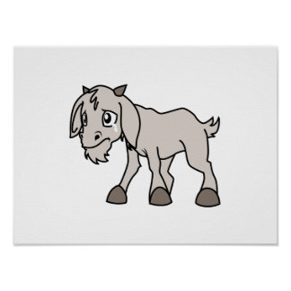 Crying Grey Young Goat Kid Animal Rights Day Print