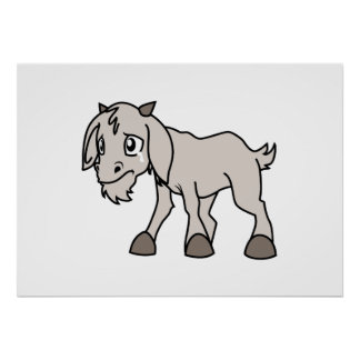 Crying Grey Young Goat Kid Animal Rights Day Poster