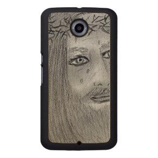 Crying Jesus Wood Phone Case