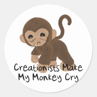 Crying Monkey Round Sticker