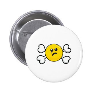 crying smiley Skull and Crossbones 6 Cm Round Badge