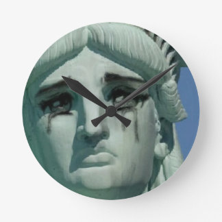 Crying Statue of Liberty Round Clock