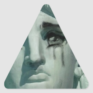 Crying Statue of Liberty Triangle Sticker
