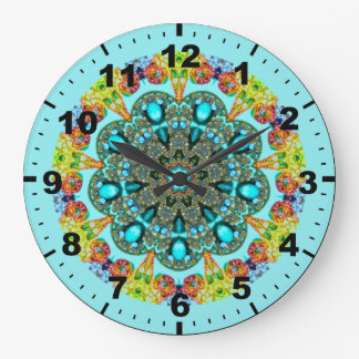 ~ Crystal and Turquoise Fractal ~ Large Clock