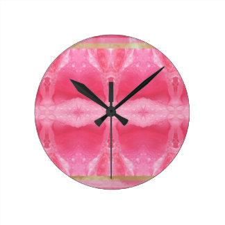 Crystal Art Morning Dew on Rose Petal Round Wall Clocks