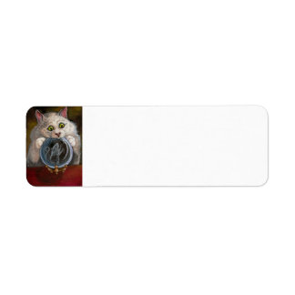 CRYSTAL BALL White Cat Mouse Avery Label Return Address Label