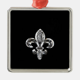 Crystal Black Fleur de lis Metal Ornament
