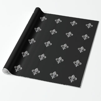 Crystal Black Fleur de lis Wrapping Paper