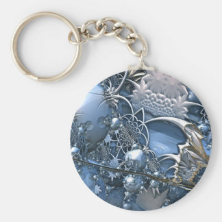 Crystal Blue Allure Basic Round Button Key Ring