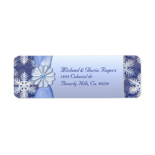 Crystal Blue Snowflake Celebration Return Address Label