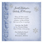 Crystal Blue Snowflakes Winter Wedding Invitation