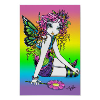"""""""Crystal"""" Candy Rainbow Butterfly Fairy Poster"""