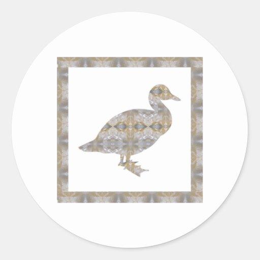 CRYSTAL DUCK BIRD DIY Template NVN430 LARGE kids Round Stickers