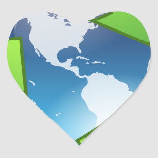 Crystal Earth Cycle of Life Heart Sticker