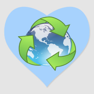 Crystal earth globe recycle icon heart sticker