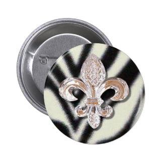 Crystal Fleur De Lis New Orleans Mardi Gras Zebra Pinback Button