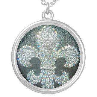 Crystal Fleur de lis on Black print Silver Plated Necklace