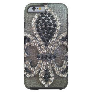 CRYSTAL FLEUR DE LIS ON LEATHER LOOK TOUGH iPhone 6 CASE