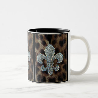 CRYSTAL FLEUR DE LIS ON LEOPARD BORDER PRINT Two-Tone COFFEE MUG