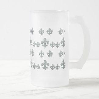 CRYSTAL FLEUR DE LIS SCATTERS FROSTED GLASS MUG