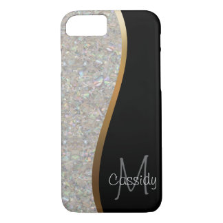 Crystal Glitter Rock, Gold and Black Swirl iPhone 8/7 Case