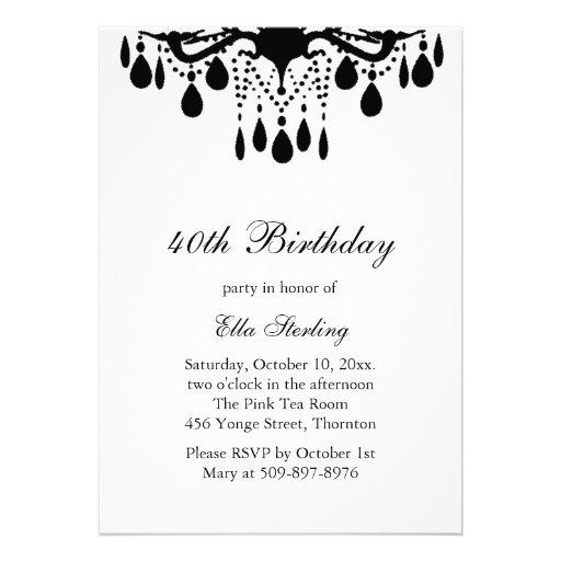 Crystal Grand Ballroom Birthday Invitation (black)
