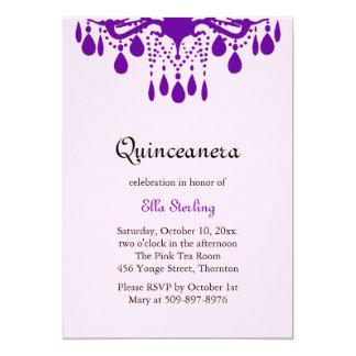 Crystal Grand Ballroom Birthday Invitation purple