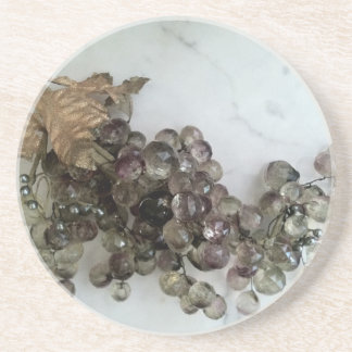 CRYSTAL GRAPES ON MARBLE COASTER