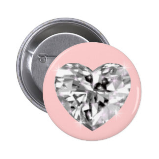 Crystal heart 6 cm round badge