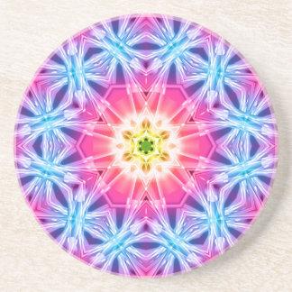 Crystal Hexagon Mandala Sandstone Coaster