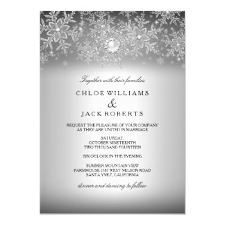 Crystal Pearl Snowflake Silver Winter Wedding Card
