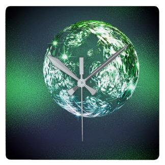 Crystal Planet Universum Tropical Green Ball Calli Square Wall Clock