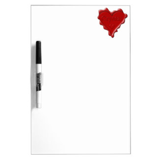 Crystal. Red heart wax seal with name Crystal Dry Erase Board