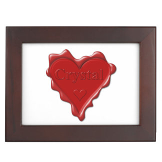 Crystal. Red heart wax seal with name Crystal Keepsake Boxes