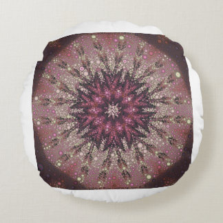 Crystal Rose Kaleidoscope Round Cushion