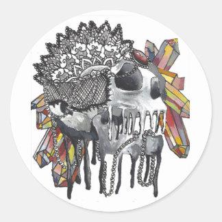 Crystal Skull Mandala Classic Round Sticker