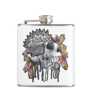 Crystal Skull Mandala Hip Flask
