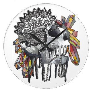 Crystal Skull Mandala Large Clock