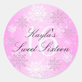 Crystal Snow Winter Wonderland Sweet 16 Sticker