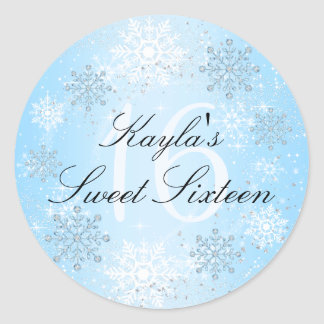 Crystal Snow Winter Wonderland Sweet 16 Sticker